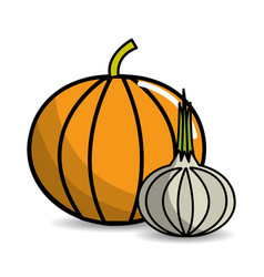 pumpkin and garlic vegetable icon vector image