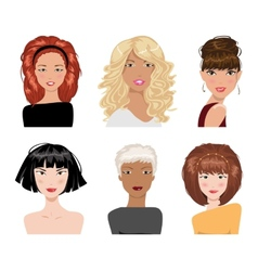 Set of female hair style collection vector image