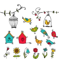 Cute birds tree and and birds nesting boxes vector