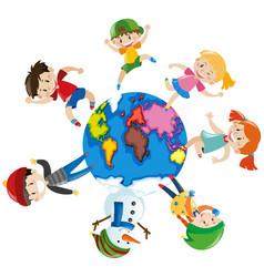 happy children around the world vector image