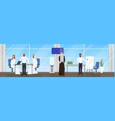 meeting of arab business people group muslim vector image