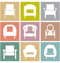 Sofas Icons Set On Square Background vector image vector image