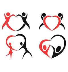Abstract people heart symbol vector image