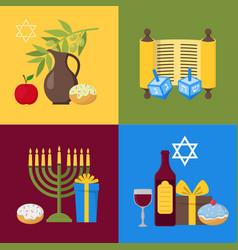 cartoon hanukkah banner card set vector image
