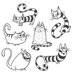 cartoon outlined cats vector image