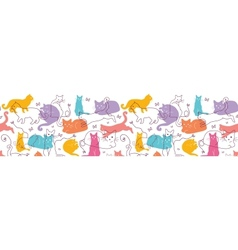 Colorful Cats Horizontal Seamless Pattern vector image vector image