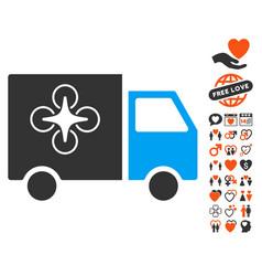 drone delivery van icon with valentine bonus vector image vector image