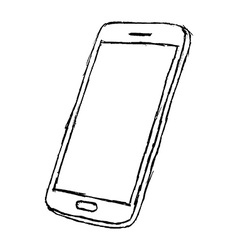 Handdrawn sketch of mobile phone outlined isolated vector image