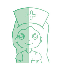 kawaii professional nurse with hat in the head vector image