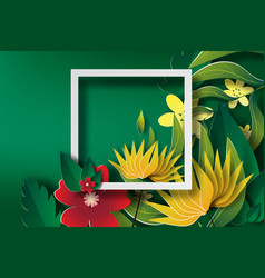 paper art of frame with green leaf and flower vector image