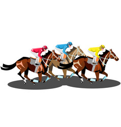 racing horses competing with each other isolated vector image
