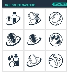 Set of modern icons Nail polish manicure vector image