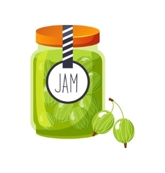 Sweet gooseberry green jam glass jar filled with vector