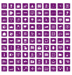 100 cyber security icons set grunge purple vector