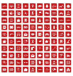 100 telephone icons set grunge red vector image