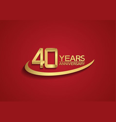 40 years anniversary logo style with swoosh vector