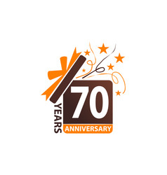 70 years gift box ribbon anniversary vector image