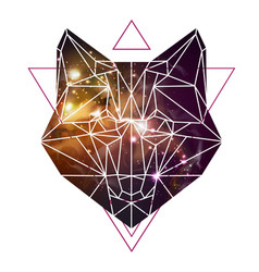 Abstract polygonal tirangle animal fox vector