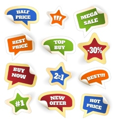Assortment of Colorful Discount Sale Tags vector image