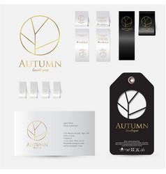 Autumn logo identity label set lingerie vector