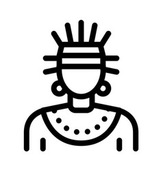 Aztec shaman icon outline vector