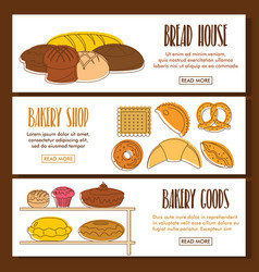 bakery doodle three horizontal banners vector image