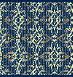 baroque damask gold 3d seamless pattern vector image