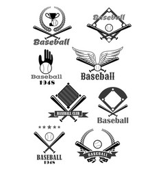 baseball sport club symbol design with bat ball vector image vector image