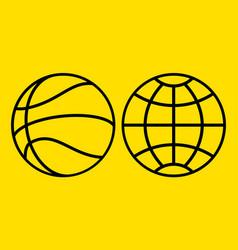 basketball and globe symbols vector image