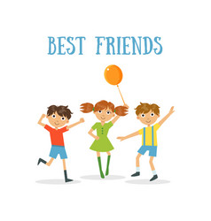 best friends banner two happy boys and girl vector image