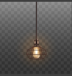 black loft lamp with incandescent lightbulb vector image
