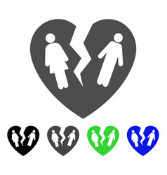 broken family heart flat icon vector image
