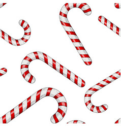 candy canes red white striped candy seamess vector image