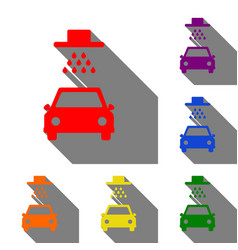 car wash sign set of red orange yellow green vector image