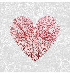 Card with heart of red coral vector