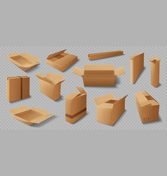 Cardboard box realistic mockups delivery packages vector