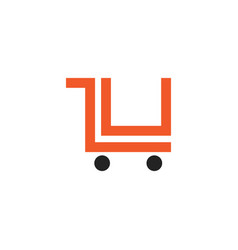 Cart logo letter lu online shop vector