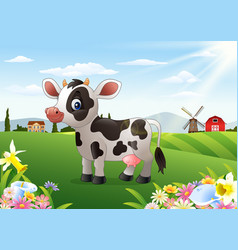 cartoon cow in rural landscape with blooming flowe vector image