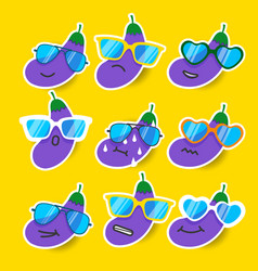 Cartoon eggplant emojis with sunglasses vector
