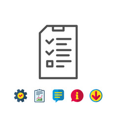 checklist document line icon file sign vector image