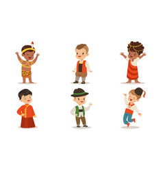 children in costumes different nations vector image
