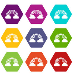 cloud rainbow icons set 9 vector image