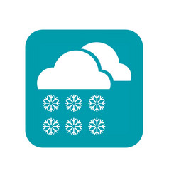 Cloudy snow snowfall and snowflakes flat icon vector