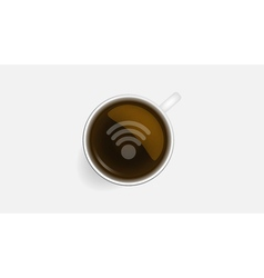 Coffee cup and wifi symbol concept icons design vector