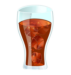 Cola in glass with ice isolated icon vector