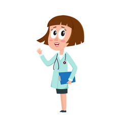 comic female woman doctor character with bob vector image