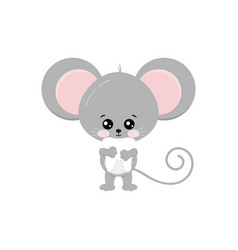Cute mouse hold baby tooth in paws isolated vector