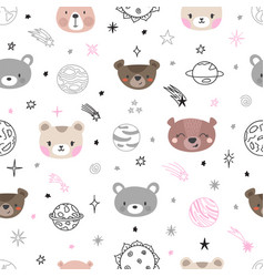 Cute space seamless pattern with cartoon bears vector