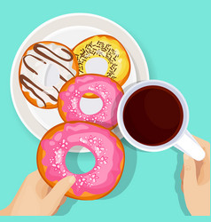 Delicious donuts in glaze with cup of hot coffee vector