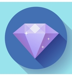 Diamond icon Flat design with long shadow vector image